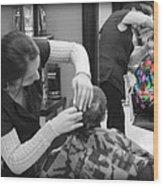 Hair Dresser - The First Cut Wood Print