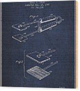Hair Straightener Patent From 1909 - Navy Blue Wood Print