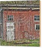 Hairy Red Barn Wood Print