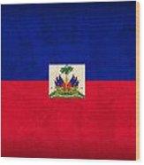 Haiti Flag Vintage Distressed Finish Wood Print