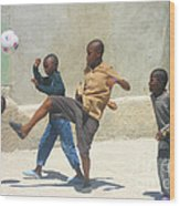 Haitian Boys Playing Soccer Wood Print