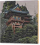 Hakoni Tea House Wood Print
