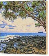Hala Trees At Ka'anae Point Wood Print