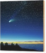 Hale-bopp Comet And Telescope Domes Wood Print