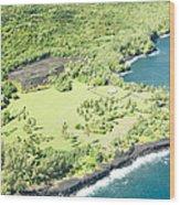 Aerial View Hale O Pi'ilani Heiau Honomaele Hana Maui Hawaii  Wood Print