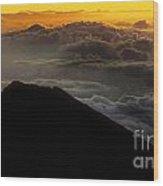 Haleakala Hawaii Sunrise Cloudscape  Wood Print