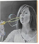 Bubble Girl Wood Print