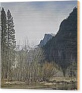 Half Dome And The Merced River In Winter Wood Print