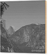 Half Dome In Distance Black And White Wood Print