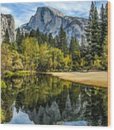 Half Dome Reflected In The Merced River Wood Print