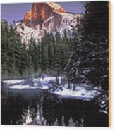 Half Dome Reflection Yosemite National Park California Wood Print
