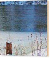 Half Frozen River Bank Wood Print