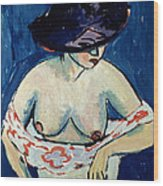 Half Naked Woman With A Hat Wood Print