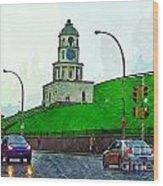 Halifax Historic Town Clock Wood Print