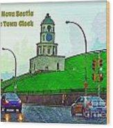 Halifax Historic Town Clock Poster Wood Print
