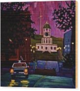 Halifax Night Patrol And Town Clock Wood Print