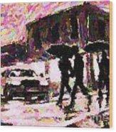 Halifax Nova Scotia On In The Rain Wood Print