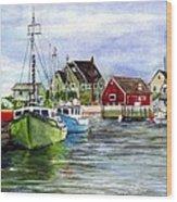 Peggys Cove Nova Scotia Watercolor Wood Print