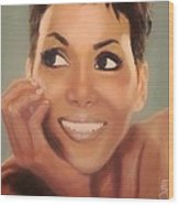 Halle Berry Wood Print by Shirl Theis