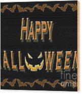Halloween Bat Border Wood Print