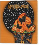 Halloween Black Cat Cupcake 2 Wood Print