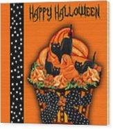 Halloween Black Cat Cupcake 3 Wood Print