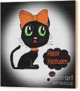 Halloween Black Cat Wood Print