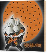 Halloween Ghost Cupcake 2 Wood Print