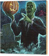 Halloween Ghoul Rising From Grave With Pumpkin Wood Print by Martin Davey