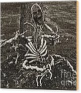 Halloween Green Skeleton Black And White Wood Print