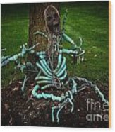 Halloween Green Skeleton Vinette Wood Print
