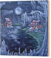 Halloween In The Swamp Wood Print
