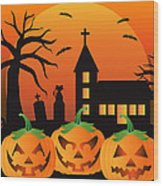 Halloween Jack O Lantern Pumpkins Illustration Wood Print