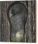 Halloween Keyhole Wood Print by Amanda Elwell