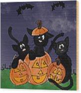 Halloween Kittens Wood Print