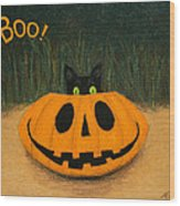 Halloween Kitty Boo Wood Print