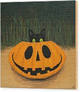 Halloween Kitty Wood Print