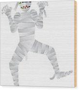 Halloween Mummy Cartoon Illustration Wood Print