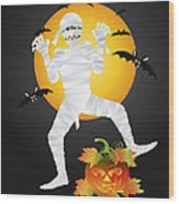 Halloween Mummy Carved Pumpkin Illustration Wood Print