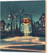 Halloween Night With Pumpkin And Wood Print