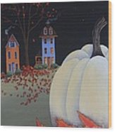 Halloween On Pumpkin Hill Wood Print by Catherine Holman