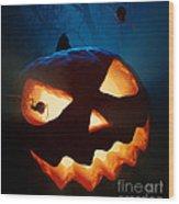 Halloween Pumpkin And Spiders Wood Print