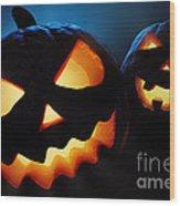 Halloween Pumpkins Closeup -  Jack O'lantern Wood Print