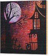 Halloween Retreat Wood Print by Denisse Del Mar Guevara
