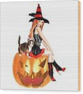 Halloween Witch Nicki With Kitten Wood Print