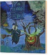 Halloween Witch's Coldron Wood Print