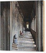 Hallway At Angkor Wat Wood Print