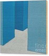 Hallway Blue Wood Print
