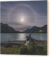 Halo Around The Solstice Moon Wood Print