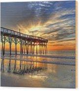 Halo Pier Sunrise  Wood Print